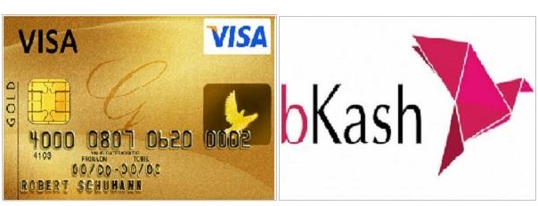How to sent money from visa card to bkash